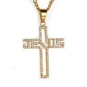 18k Gold Plate Chain Jesus Cross Pendant Necklace